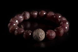 RUB62010-01: Raw ruby beads with large sterling silver ball bead